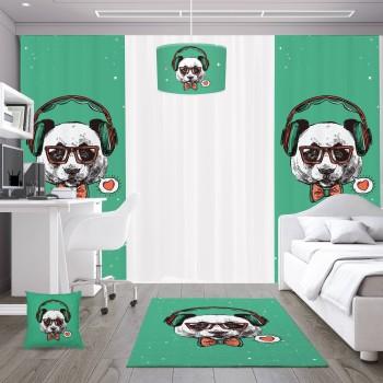 Yeşil Zeminli Karizmatik Panda Genç Çocuk Odası Avize-DKCA-1009