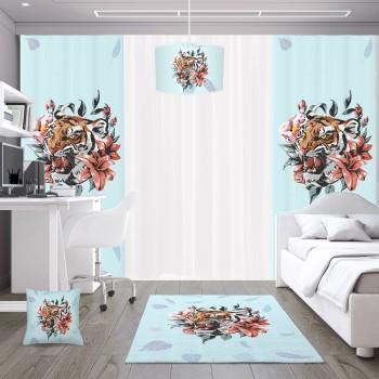 Çiçek ve Yaprak Detaylı Turkuaz Zemin Genç Çocuk Odası Abajur-DKCAB-1014