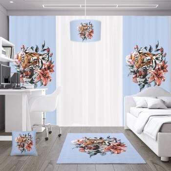 Çiçek ve Yaprak Detaylı Mavi Zemin Genç Çocuk Odası Abajur-DKCAB-1015