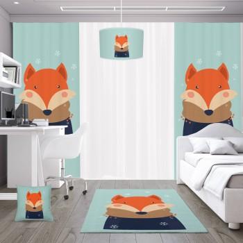 Atkılı  Sevimli Tilki Erkek Çocuk Odası Abajur-DKCAB-1016