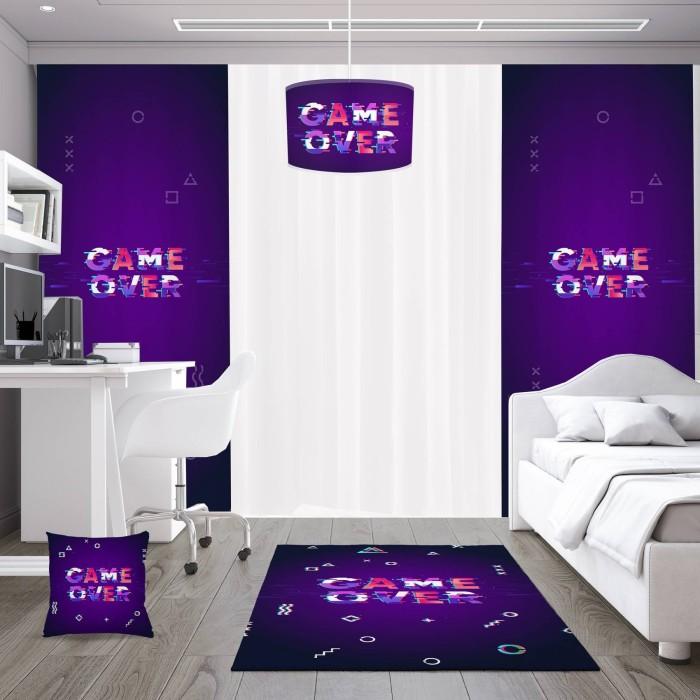 Game Over Koyu Zemin Gamer Serisi Genç Çocuk Odası Fon Perdesi-DKCF-1017