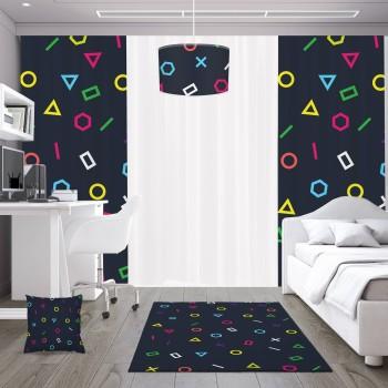 Koyu Zemin Geometrik Tasarım Genç Çocuk Odası Fon Perdesi-DKCF-1019