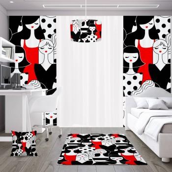 Karmaşık İnsan Figürlü Kırmızı  Siyah Genç Çocuk Odası  Abajur-DKCAB-1022