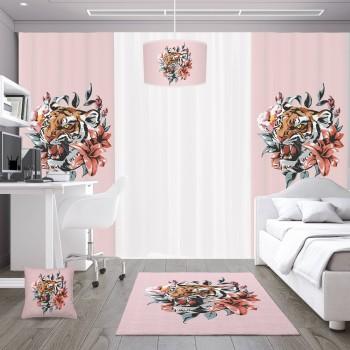 Çiçek ve Yaprak Detaylı Pembe Zemin Genç Çocuk Odası Kırlent-DKCY-1023