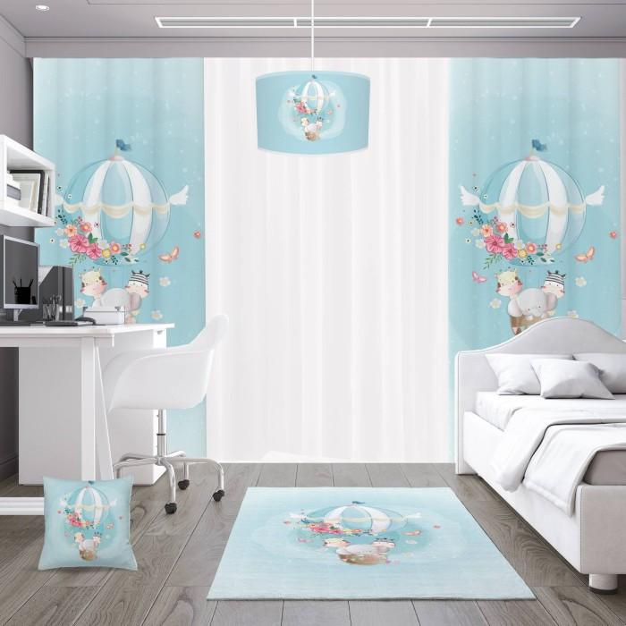 Çiçek Detaylı Uçan Balon Çocuk Odası  Abajur-DKCAB-1035