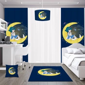 Ay Üstünde Oturan Kız ve Tavşanları Kız Çocuk Odası Kırlent-DKCY-1036