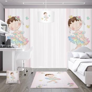 Çiçek Detaylı Balerin Prenses Kız Çocuk Odası Fon Perdesi-DKCF-1057