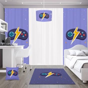 Mavi  Zeminli Şimşek Detaylı Gamepad Gamer Odası Fon Perdesi-DKCF-1060