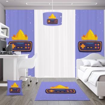 Mavi  Zeminli Taç  Detaylı Gamepad Gamer Odası Fon Perdesi-DKCF-1061