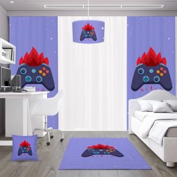 Mavi  Zeminli Ateş  Detaylı Gamepad Gamer Odası Fon Perdesi-DKCF-1062