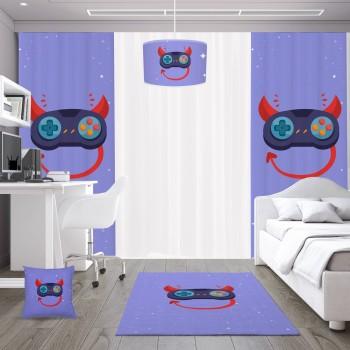 Mavi  Zeminli Şeytan Detaylı Gamepad Gamer Odası Fon Perdesi-DKCF-1064