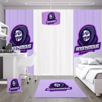 Anonymous Logolu Gamer  Odası Fon Perdesi-DKCF-1067