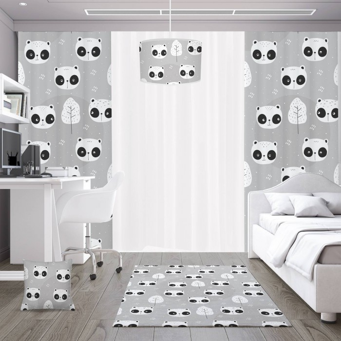 Açık Zemin Utangaç Pandalar  Çocuk Odası Kırlent-DKCY-1087