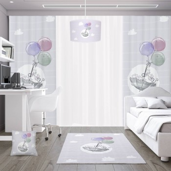 Bulut Detaylı Balonla Uçan Minik Fareler Desenli Erkek Çocuk Odası Abajur-DKCAB-1089