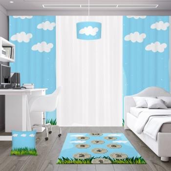 Çimen ve Bulut Detaylı Sek Sek Oyun Temalı  Çocuk Odası Fon Perdesi