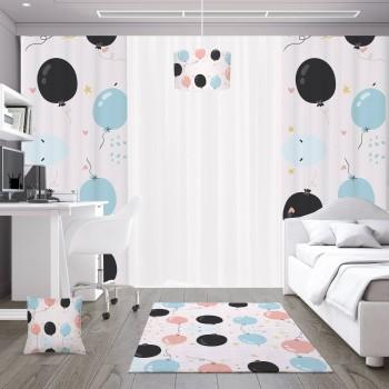 Açık Zeminli Uçan Balonlar  Çocuk Odası Kırlent