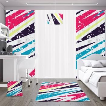 Açık Zeminli  Renkli Asimetrik  Desenli Genç  Odası Abajur
