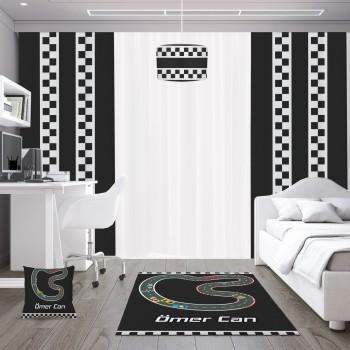 Siyah Zemin Araba Yolu Erkek Çocuk Odası Fon Perdesi
