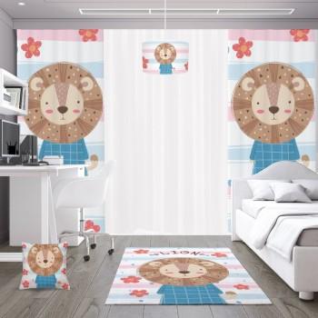 Çiçek Detaylı Yavru Aslan Çocuk Odası Fon Perdesi