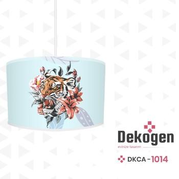 Çiçek ve Yaprak Detaylı Turkuaz Zemin Genç Çocuk Odası Avize-DKCA-1014