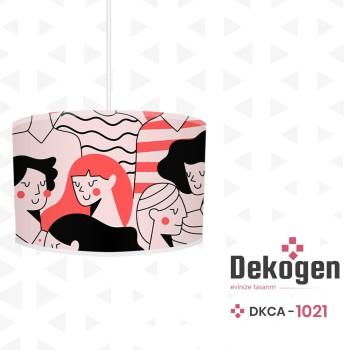 Karmaşık İnsan Figürlü Pembe Siyah Genç Çocuk Odası  Avize-DKCA-1021