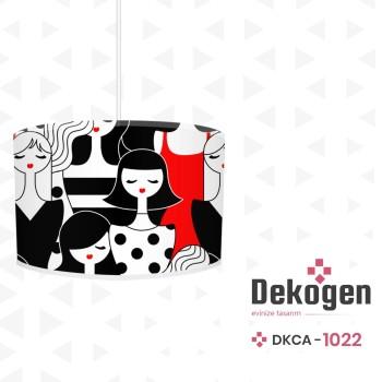 Karmaşık İnsan Figürlü Kırmızı  Siyah Genç Çocuk Odası  Avize-DKCA-1022