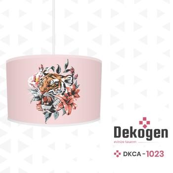 Çiçek ve Yaprak Detaylı Pembe Zemin Genç Çocuk Odası Avize-DKCA-1023