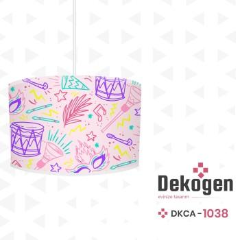 Karışık Davul - Maske - Tüy Desenli Kız Çocuk Odası Avize-DKCA-1038