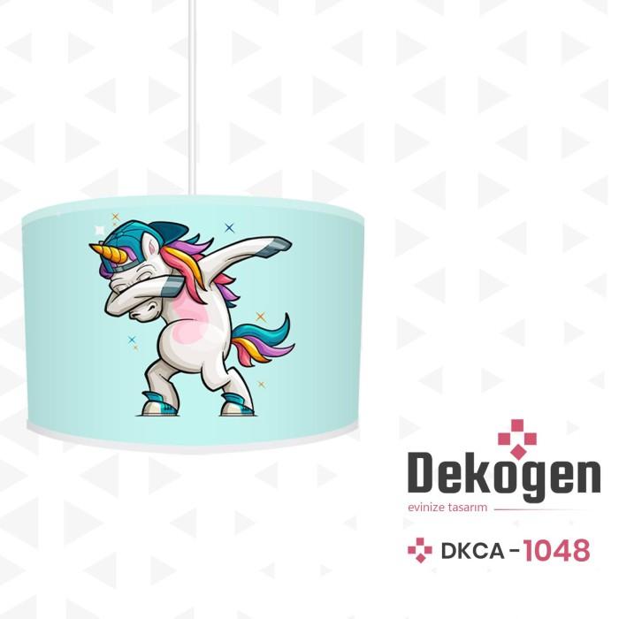 Dans Eden Tek Boynuzlu At Mavi Zemin Erkek Çocuk Odası Avize-DKCA-1048