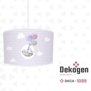Bulut Detaylı Balonla Uçan Minik Fareler Desenli Erkek Çocuk Odası Avize-DKCA-1089