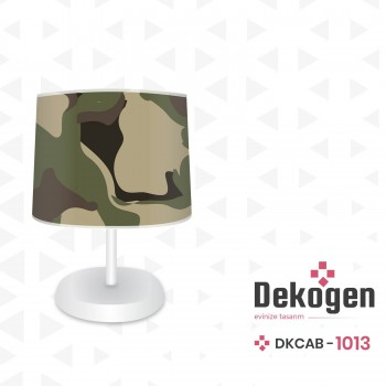 Askeri Kamuflaj Desenli Genç Çocuk Odası Abajur-DKCAB-1013