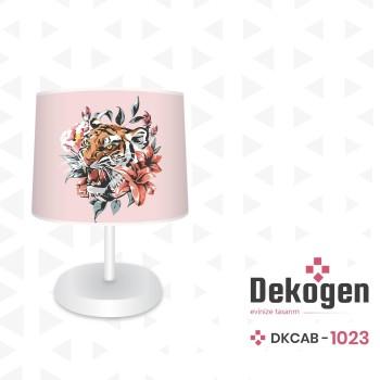 Çiçek ve Yaprak Detaylı Pembe Zemin Genç Çocuk Odası Abajur-DKCAB-1023