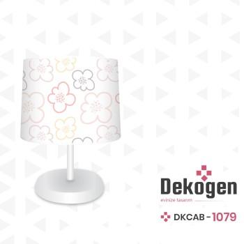 Beyaz Zemin Çiçek Detaylı  Kız Çocuk Odası Abajur-DKCAB-1079