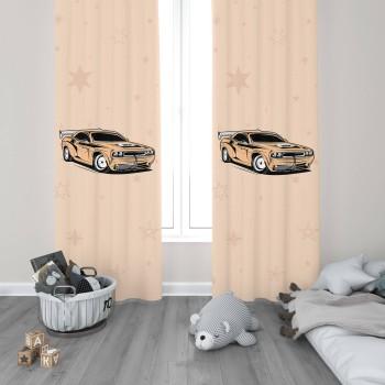 Hızlı Yarış Arabası Erkek Çocuk Odası Fon Perdesi-DKCF-1001