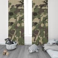 Askeri Kamuflaj Desenli Genç Çocuk Odası Fon Perdesi-DKCF-1013