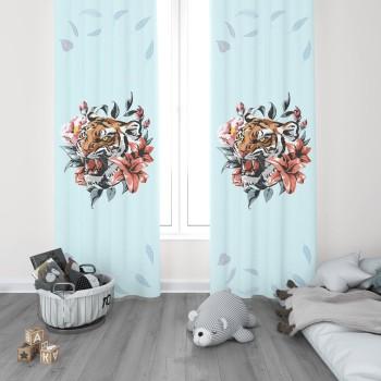 Çiçek ve Yaprak Detaylı Turkuaz Zemin Genç Çocuk Odası Fon Perdesi-DKCF-1014