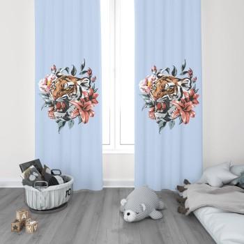 Çiçek ve Yaprak Detaylı Mavi Zemin Genç Çocuk Odası Fon Perdesi-DKCF-1015