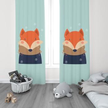 Atkılı  Sevimli Tilki Erkek Çocuk Odası Fon Perdesi-DKCF-1016