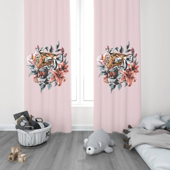 Çiçek ve Yaprak Detaylı Pembe Zemin Genç Çocuk Odası Fon Perdesi-DKCF-1023