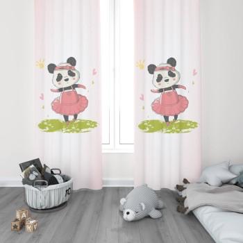 Dans Eden Minik Panda Kız Çocuk Odası Fon Perdesi-DKCF-1046
