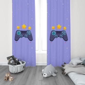 Mavi  Zeminli Yıldız  Detaylı Gamepad Gamer Odası Fon Perdesi-DKCF-1063
