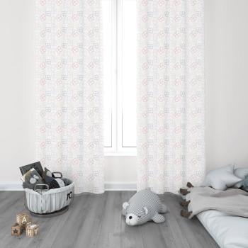 Beyaz Zemin Çiçek Detaylı  Kız Çocuk Odası Fon Perdesi-DKCF-1079