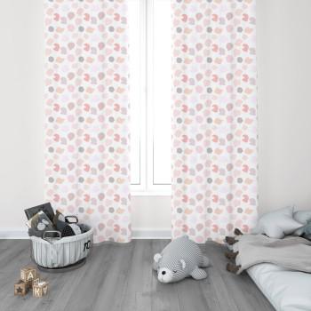 Beyaz Zemin Rengarenk Şekillerle Dolu Çocuk Odası Fon Perdesi-DKCF-1085