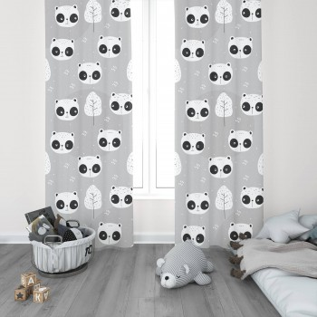 Açık Zemin Utangaç Pandalar  Çocuk Odası Fon Perdesi-DKCF-1087