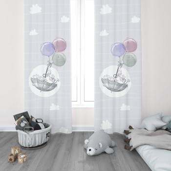 Bulut Detaylı Balonla Uçan Minik Fareler Desenli Erkek Çocuk Odası Fon Perdesi-DKCF-1089
