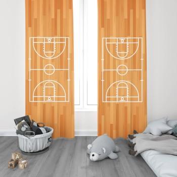 Basketbol  Sahası Ahşap Detaylı  Erkek  Çocuk Odası Fon Perdesi