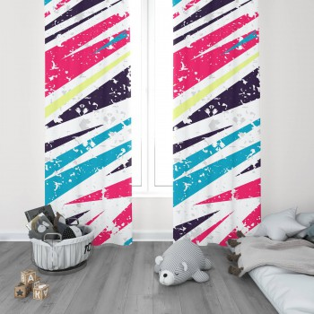 Açık Zeminli  Renkli Asimetrik  Desenli Genç  Odası Fon Perdesi
