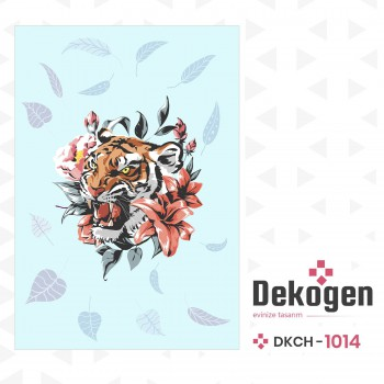 Çiçek ve Yaprak Detaylı Turkuaz Zemin Genç Çocuk Odası Halısı-DKCH-1014