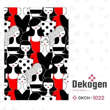Karmaşık İnsan Figürlü Kırmızı  Siyah Genç Çocuk Odası  Halısı-DKCH-1022
