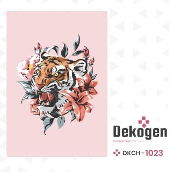 Çiçek ve Yaprak Detaylı Pembe Zemin Genç Çocuk Odası Halısı-DKCH-1023